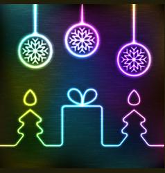 glowing icon gift box christmas fir tree vector image