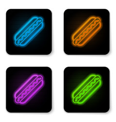 glowing neon hotdog sandwich with mustard icon vector image