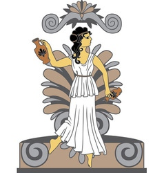 Greek woman with amphoras vector
