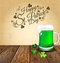 Green beer with Shamrock on wooden floor vector image