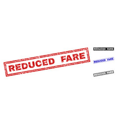 Grunge reduced fare textured rectangle stamps vector
