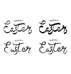 Happy easter black paint lettering set vector