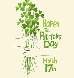happy st patricks day shamrock bouquet vector image