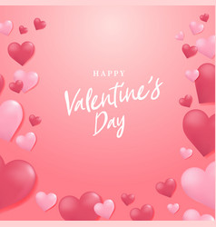 happy valentines day with heart balloon background vector image
