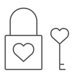 heart lock thin line icon valentine and holiday vector image