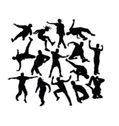 hip hop dancers silhouettes vector image