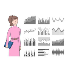 infocharts and woman holding clipboard with pages vector image