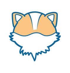 isolated cute fox face vector image