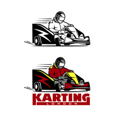 Kart racing winner logo on a white vector