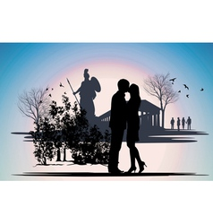 kissing couple in Greece vector image