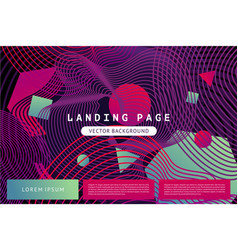 landing page template with abstract shapes and vector image