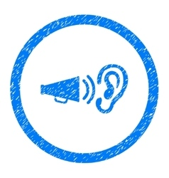 Listen Advertisement Rounded Icon Rubber Stamp vector