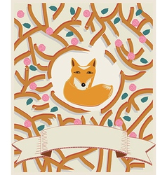Little fox in a forest card design vector