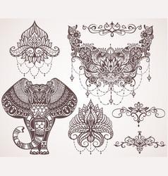 Lotus hamsa elephant ganesha mihendi style vector