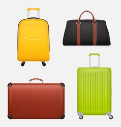 luggage realistic travel suitcase collection vector image