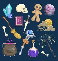 Magic mystic witchcraft wizard wodo trick vector