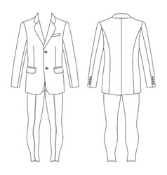 Mans suit jacket skinny jeans vector