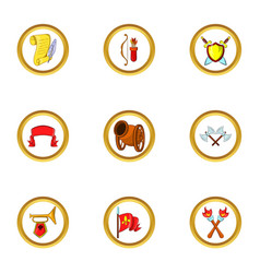Medieval castle icon set cartoon style vector