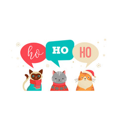merry christmas greeting banner with cute cats vector image