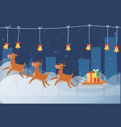 merry christmas reindeers sleigh with a sack of vector image
