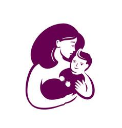 Mom hugs baby symbol motherhood logo vector