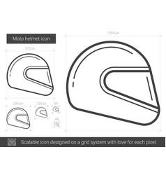moto helmet line icon vector image