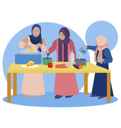 Muslim women are cooking in kitchen teaching vector