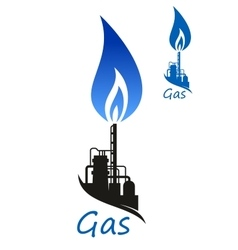Natural gas flame and industrial factory vector