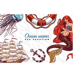 Nautical poster sea banner or background vector