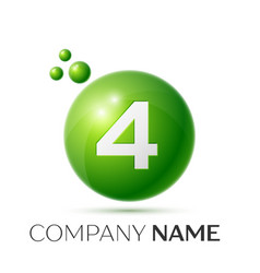 number four splash green dots and bubbles number vector image