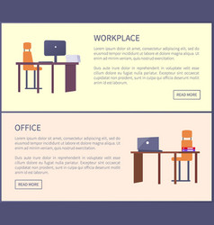 office workplace pages with push buttons and text vector image