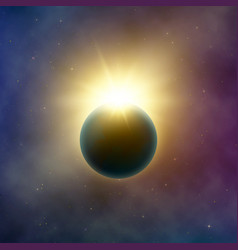 open space realistic beautiful solar eclipse vector image