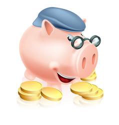 Pensioner savings concept vector