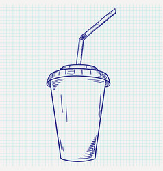 Plastic cup with drinking straw takeaway drink vector