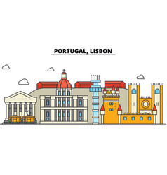 Portugal lisbon city skyline architecture vector
