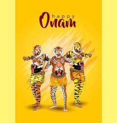 printpuli kali tiger dance for onam celebration vector image