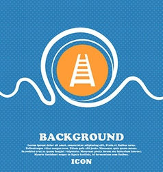 Railway track icon sign Blue and white abstract vector