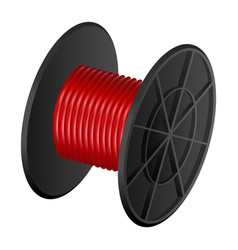 Red cable coil mockup realistic style vector