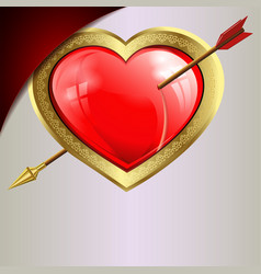 Red heart with an arrow with a gold edging on a vector