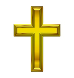 Religious gold cross vector