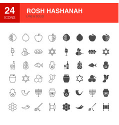 rosh hashanah line web glyph icons vector image
