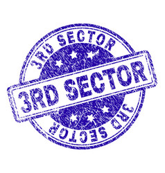 Scratched textured 3rd sector stamp seal vector