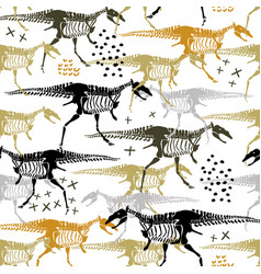 seamless childish pattern with dinosaur skeleton vector image