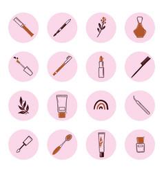 Set beauty makeup insta story highlight vector