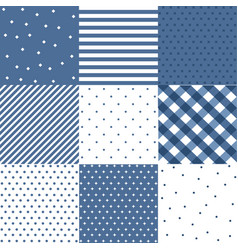 set blue cute seamless patterns vector image