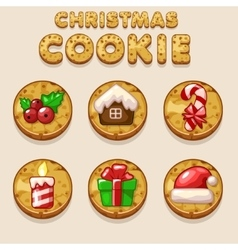 Set Cartoon Christmas cookies biskvit food icons vector