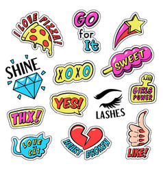set colorful retro style stickers badges with vector image