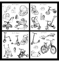 Set of hand drawn baby transport vector