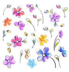 Set of isolated watercolor flowers vector image