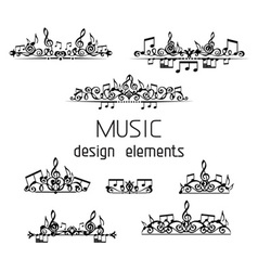 Set of music page decorations vector